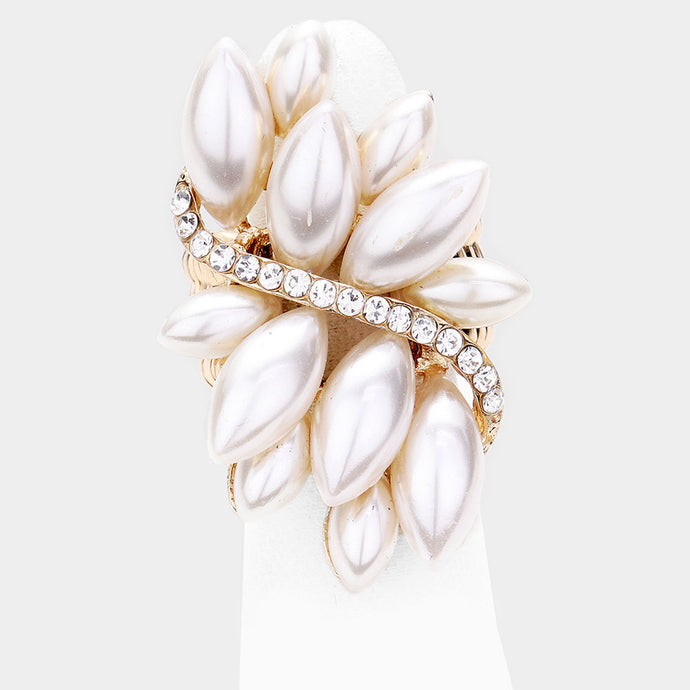 STATEMENT Gold Crystal Huge Cream Pearl Stretch Cocktail Ring