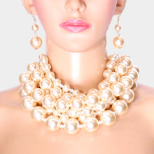 LUXE Statement Gold Cream Cluster Choker Cocktail Necklace Set