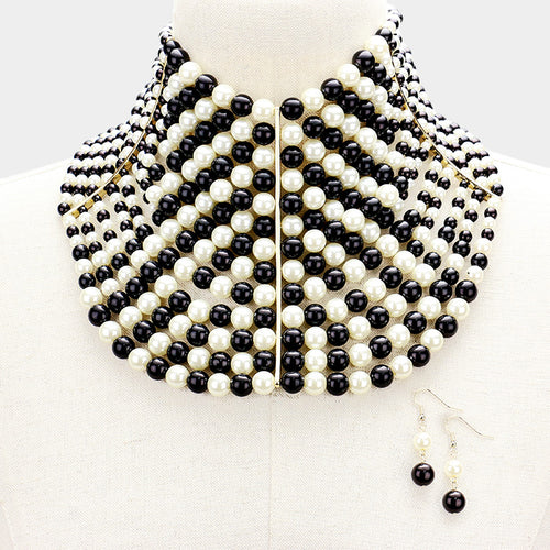 Statement Gold Black & Cream Pearl Wide Choker Necklace and Earring Set
