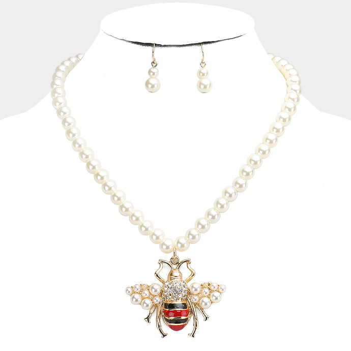 STATEMENT Gold White Pearl Honey Bee Collar Cocktail Necklace Set
