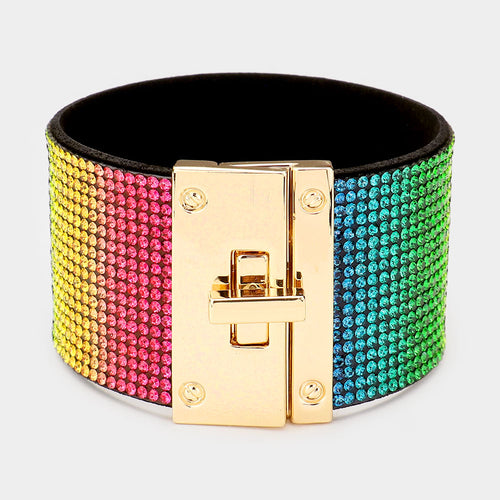 GLAM Gold Rainbow Multi Colour Pave Crystal Cuff Lock Bracelet