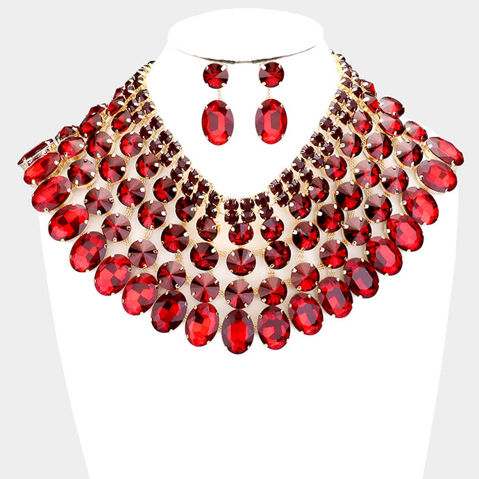SPECTACULAR Couture Siam Red Crystal Choker Cocktail Necklace Set
