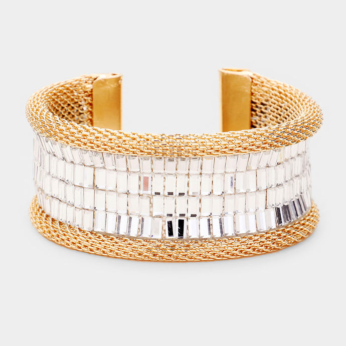 Statement Gold White Clear Crystal Cuff Bangle