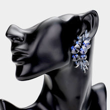 LONG Statement CLIP ON Montana Blue Crystal Cocktail Earrings