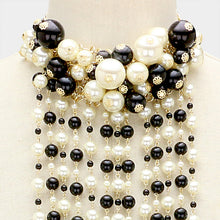 LUXE Statement Gold Black Cream Pearl Choker Long Necklace Set