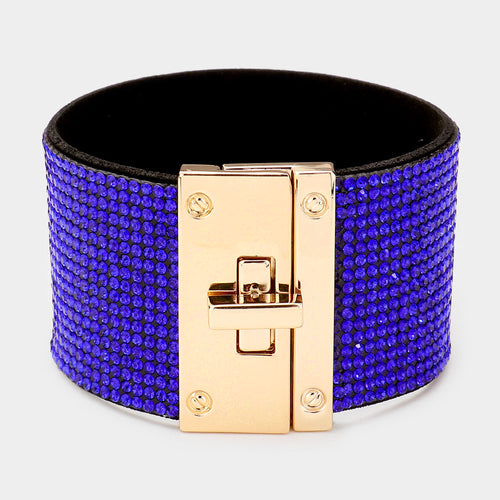 GLAM Gold Sapphire Blue Pave Crystal Cuff Lock Bracelet