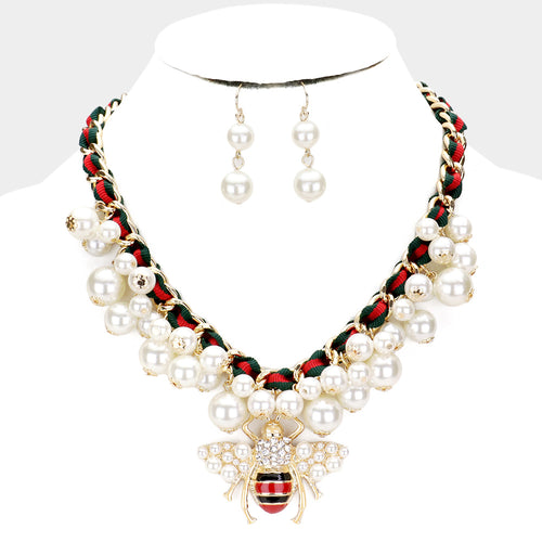 STATEMENT Gold Cream Pearl Honey Bee Collar Cocktail Necklace Set