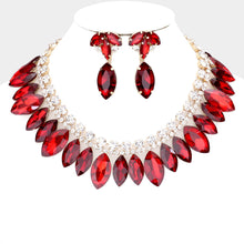 LUXE Rare Gold Siam Red Vibrant Crystal Cocktail Necklace Set