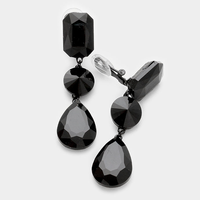 LONG Statement CLIP ON Black Jet Crystal Cocktail Earrings