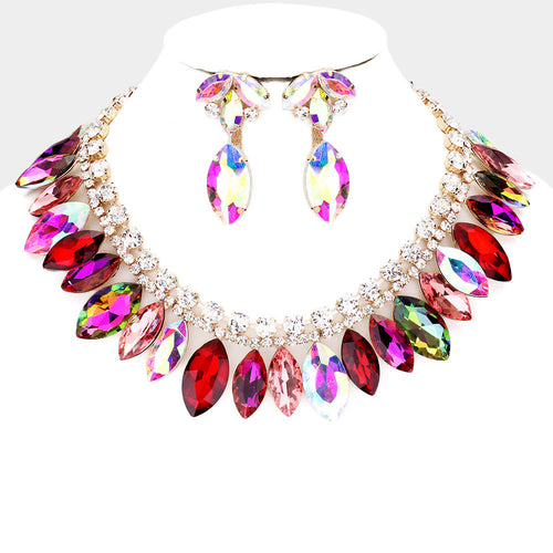 LUXE Rare Gold Multi Colour Vibrant Crystal Cocktail Necklace Set