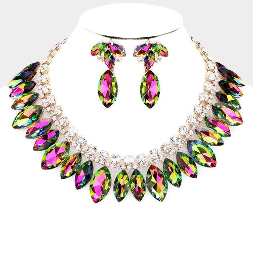 LUXE Rare Gold Multi Colour Vitrail Crystal Cocktail Necklace Set