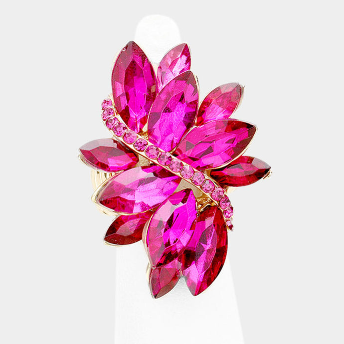 STATEMENT GLAM Huge Gold Pink Crystal Stretch Cocktail Ring