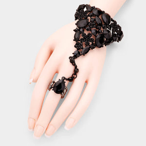 GLAM Black Jet Crystal Bracelet Hand Chain Stretch Ring