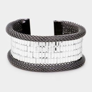 Statement Hematite White Clear Pave Crystal Cuff Bangle