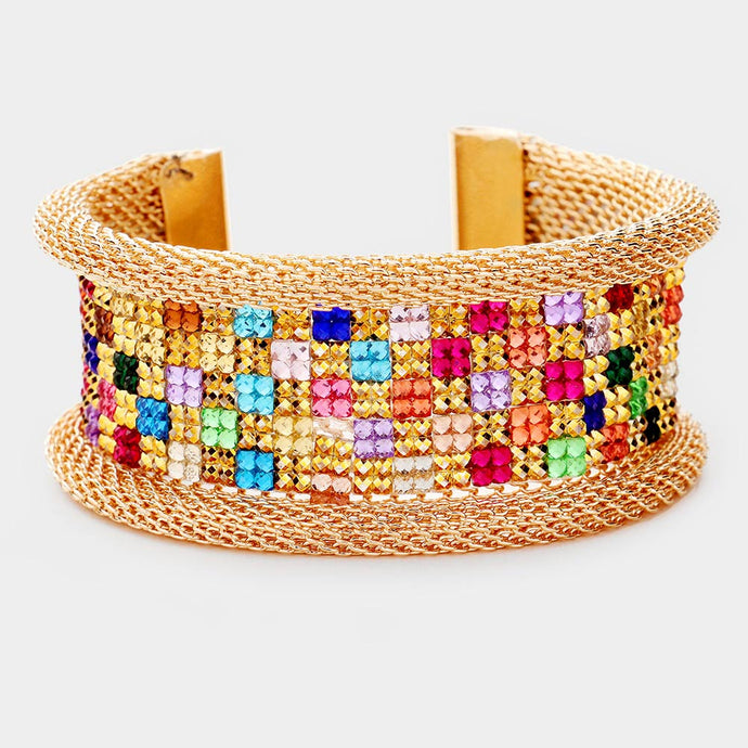 Statement Gold Multi Coloured Pave Crystal Cuff Bangle
