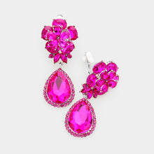 Statement Silver CLIP ON Fuchsia Pink Crystal Cocktail Earrings