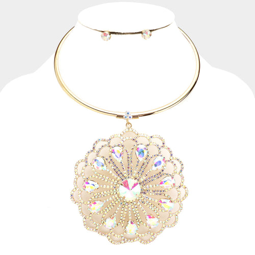 Statement Gold AB Crystal Huge Pendant Choker Necklace