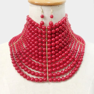 LUXE Statement Over Sized Wide Gold Red Pearl Choker Necklace Set