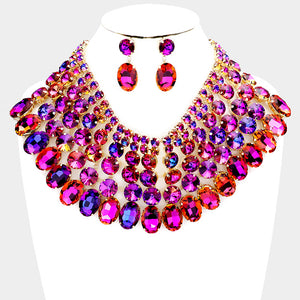 SPECTACULAR Couture Purple Crystal Choker Cocktail Necklace Set
