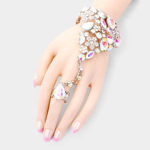 GLAM Silver AB Crystal Bracelet Hand Chain Stretch Ring