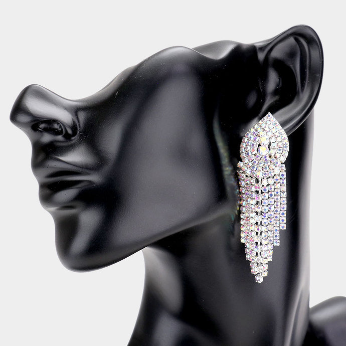 INTRODUCTORY OFFER Statement Silver AB Crystal Cocktail Earrings