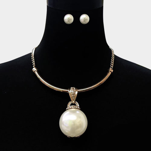 Statement Gold Huge Cream Pearl Collar Necklace Set
