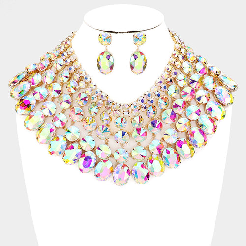 SPECTACULAR Couture AB Crystal Choker Cocktail Necklace Set