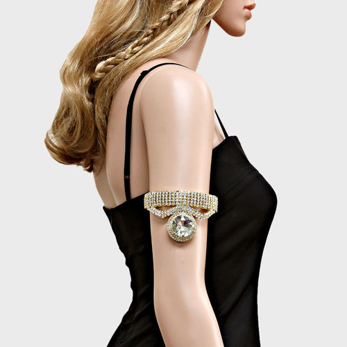 Beautiful Gold Clear Crystal Upper Arm Bracelet Adjustable Cuff