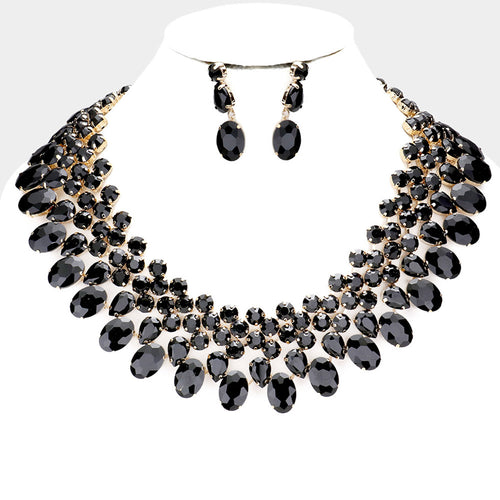 LUXE Gorgeous Gold Black Jet Crystal Collar Cocktail Necklace Set