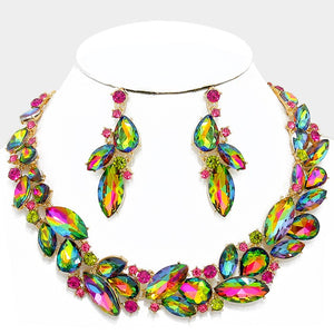 LUXE Gold Vibrant Vitrail Crystal Collar Cocktail Necklace Set