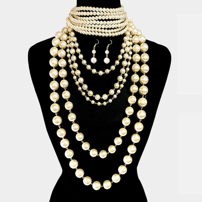 LUXE Statement Gold Cream Pearl Bib Choker 2 Piece Necklace Set