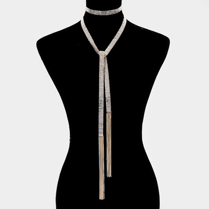 Gold Crystal Choker Long Multi Way Necklace Belt