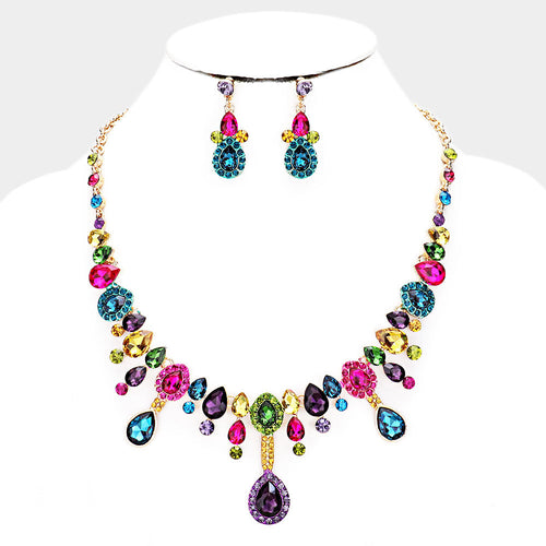 LUXE Statement Gold Multi Vibrant Crystal Cocktail Necklace Set