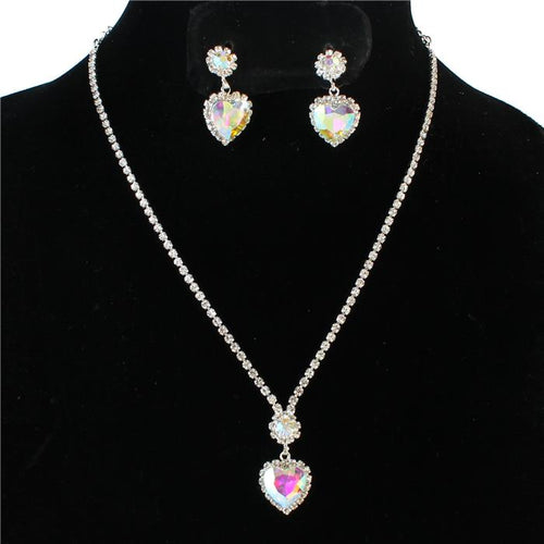 GLAM Silver AB Crystal Heart Cocktail /Bridal Bride Necklace Set