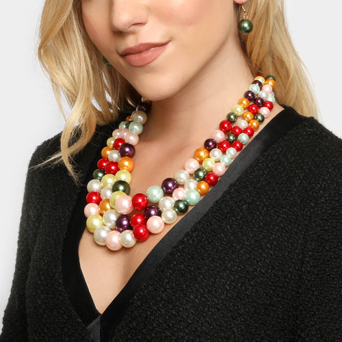 Gorgeous Statement Gold Multi Strand Drape Pearl Necklace Set