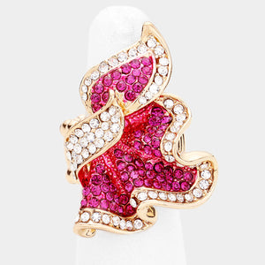 Statement Unusual Gold Pink Fuchsia Crystal Stretch Cocktail Ring