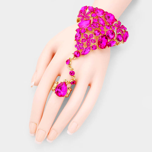 GLAM Gold Fuchsia Pink Crystal Bracelet Hand Chain Stretch Ring