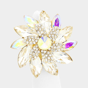 "WHIMSICAL Huge 2"" Gold AB Crystal Stretch Flower Cocktail Ring"