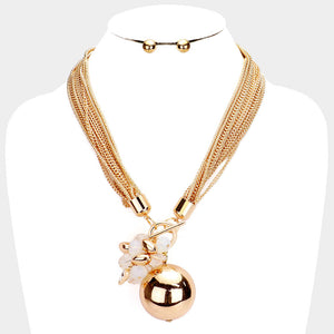 UNUSUAL Glam Gold Statement Layered Chains Ball Necklace Set