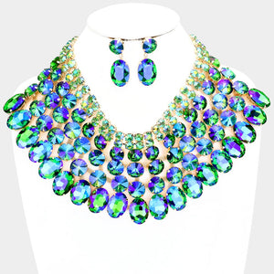 SPECTACULAR Statement Gold Green Fire Crystal Big Necklace Set
