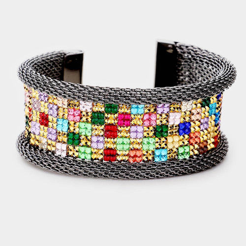 STATEMENT Black Hematite Multi Pave Crystal Cuff Bangle