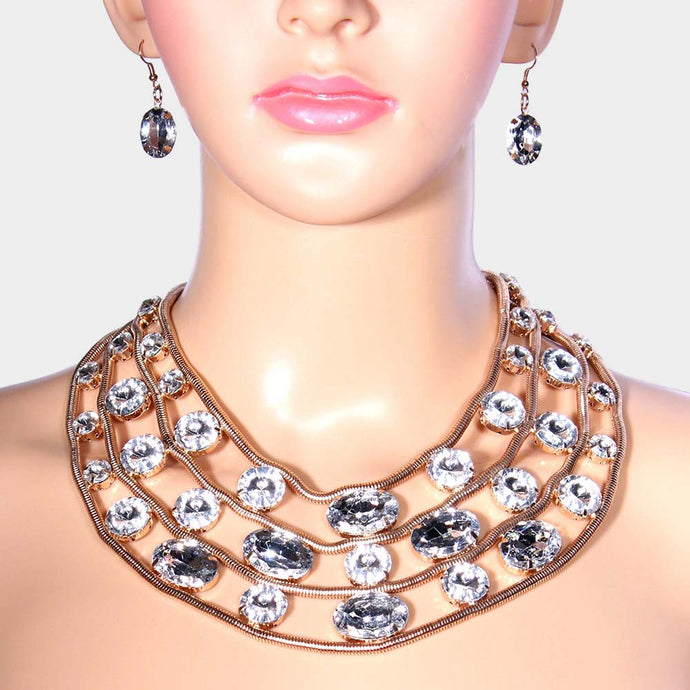 LUXE Unusual Gold Clear Crystal Collar Bib Cocktail Necklace Set