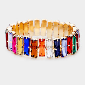 BEAUTIFUL Gold Multi Shades Crystal Stretch Cocktail Bracelet