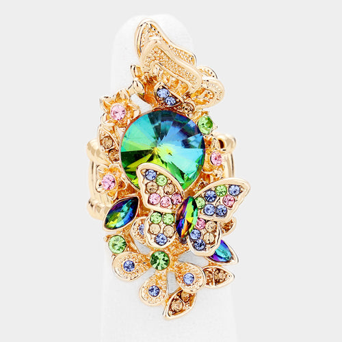 GLAM STATEMENT Gold Multi Crystal Butterfly Stretch Cocktail Ring