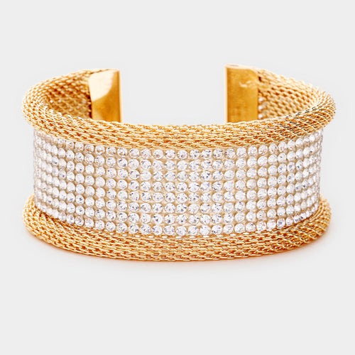 CELEB Glam Gold Clear Pave Crystal Cuff Bangle
