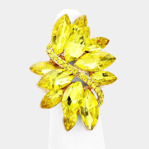 Gold Huge Yellow Jonquil Crystal Stretch Cocktail Ring