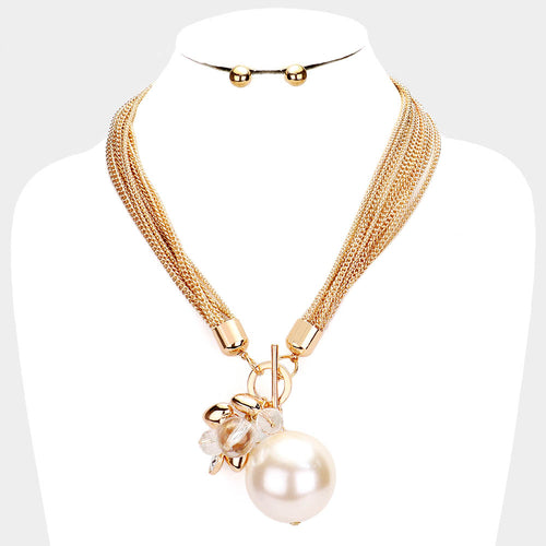UNUSUAL Gold Statement Layered Chains Pearl Ball Necklace Set