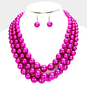 Gorgeous Statement Silver Pink Fuchsia Drape Pearl Necklace Set