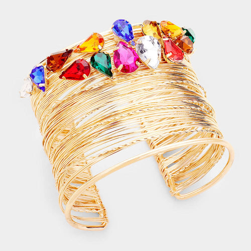LUSH Statement Gold Multi Coloured Crystal Cuff Bangle Bracelet