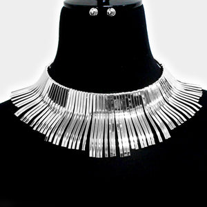 GLAM Statement Silver Metal Fringe Design Choker Necklace Set